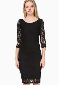 Black Half Sleeve Floral Lace Slim Dress