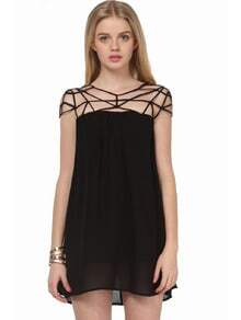 Black Girl Cut Out Shift Chiffon Mini Dress -SheIn(Sheinside)