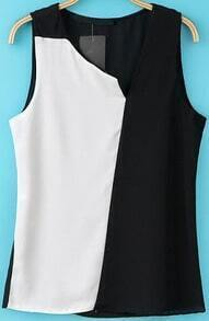 Black Contrast White Sleeveless Chiffon Blouse