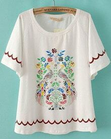 White Short Sleeve Tribal Print Loose Blouse