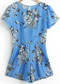 Blue Short Sleeve Vintage Floral Jumpsuit