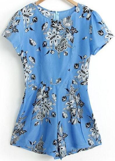 Blue Short Sleeve Vintage Floral Jumpsuit