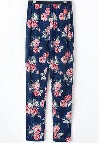 Navy Elastic Waist Floral Loose Pant