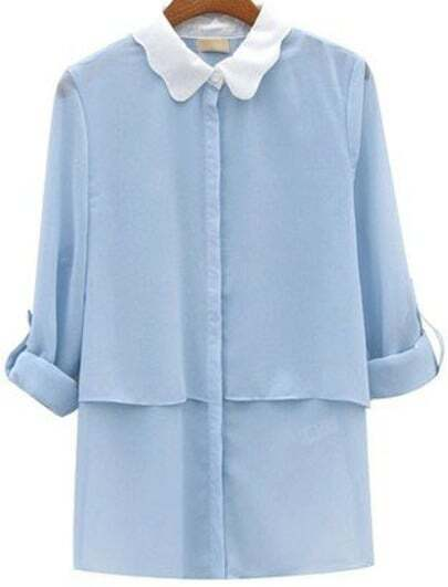 Blue Contrast Collar Long Sleeve Chiffon Blouse