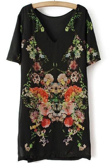 Black Short Sleeve Floral Backless Straight Dress