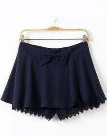 Navy Contrast Hollow Lace Bow Skirt