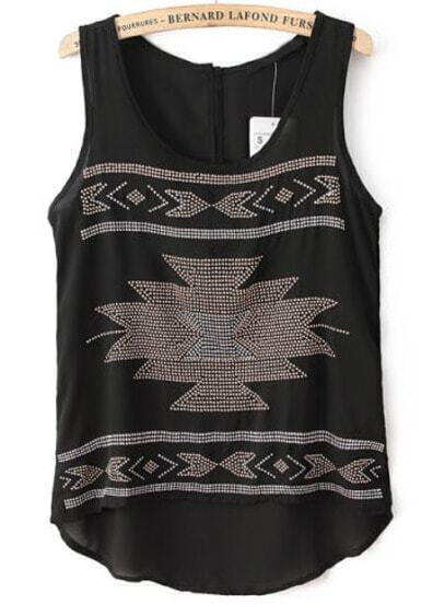 Black Sleeveless Rivet Geometric Pattern Vest