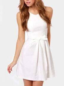 White Round Neck Sleeveless Bow Dress