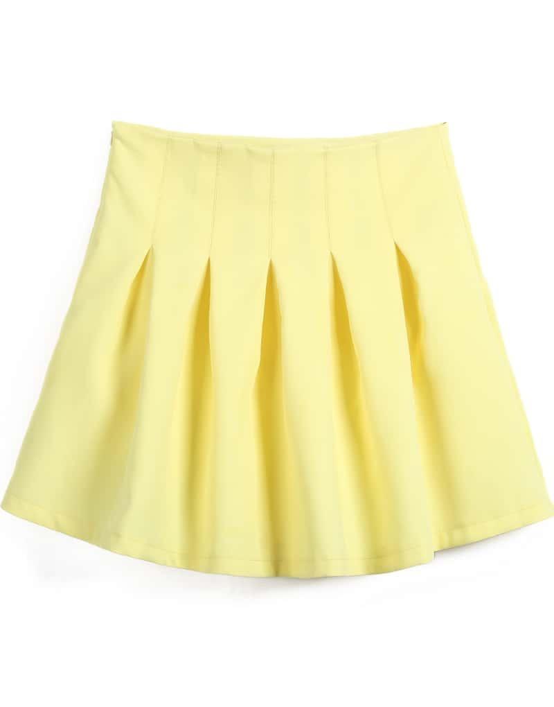 yellow high waist pleated skirt shein sheinside