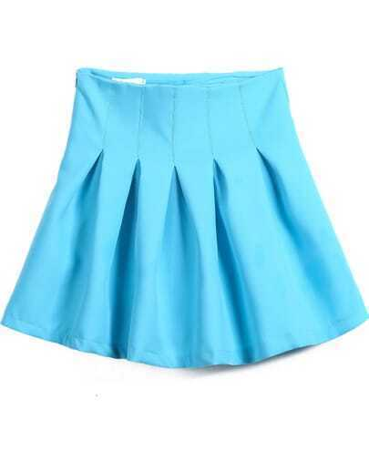 Blue High Waist Pleated Skirt