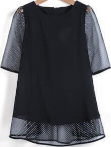 Black Contrast Polka Dot Half Sleeve Chiffon Blouse