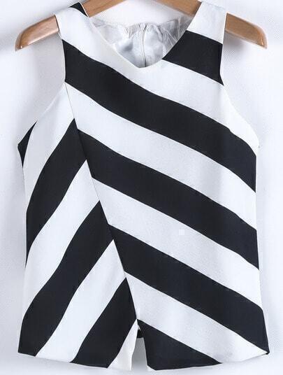 Black White Asymmetrical Striped Chiffon Vest