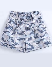 Blue Camouflage Elastic Waist Bow Shorts