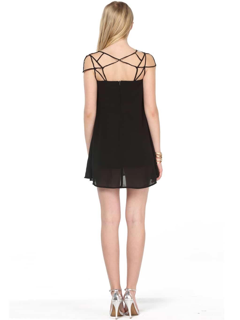 Black Girl Cut Out Shift Chiffon Mini Dress Shein Sheinside