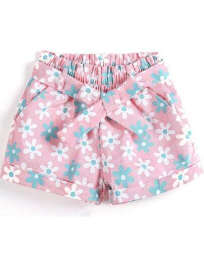 Pink Elastic Waist Floral Bow Shorts