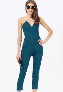 Peacock Green V Neck Backless Jumpsuit