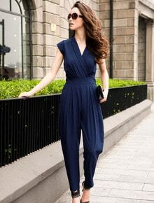 Blue Sleeveless V Neck Jumpsuit