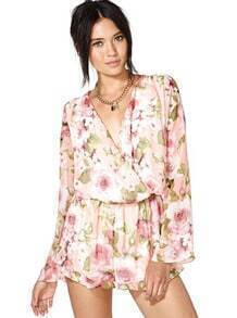 Pink Long Sleeve Floral Pattern Chiffon Jumpsuit