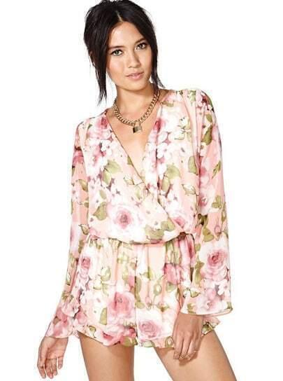Pink Long Sleeve Floral Pattern Chiffon Jumpsuit