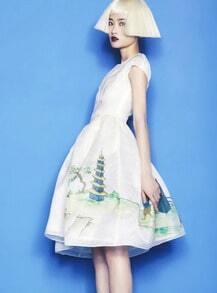 White Short Sleeve Print Flare Dress