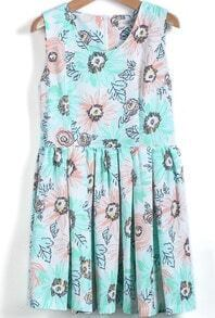 Green Round Neck Sleeveless Floral Pleated Dress