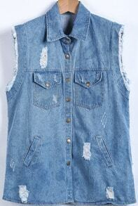 Blue Sleeveless Fringe Letters Print Ripped Denim Vest