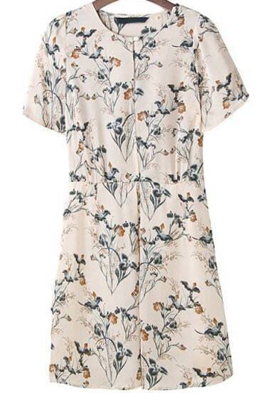Beige Short Sleeve Floral Casual Slim Dress