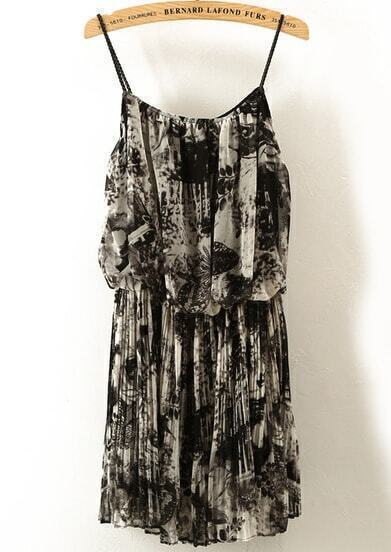 Grey Spaghetti Strap Ink Leopard Chiffon Dress