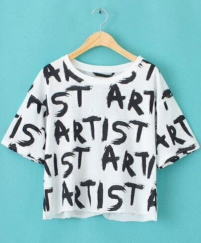 White Short Sleeve Letters Print Crop T-Shirt