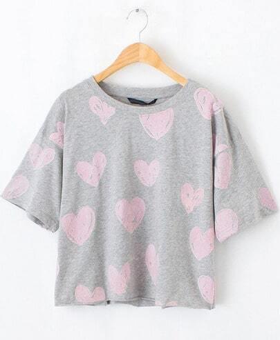 Grey Short Sleeve Hearts Print Crop T-Shirt