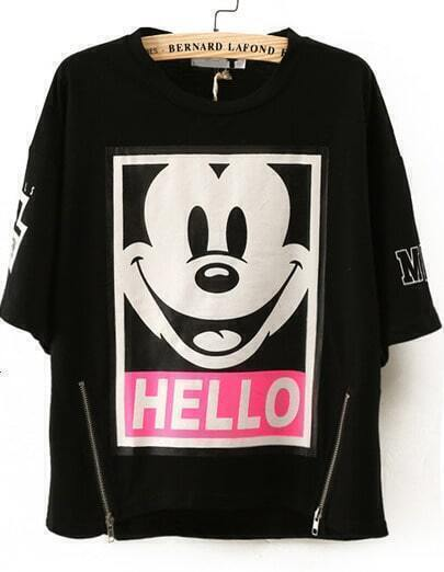 Black Short Sleeve Mickey Print Zipper T-Shirt