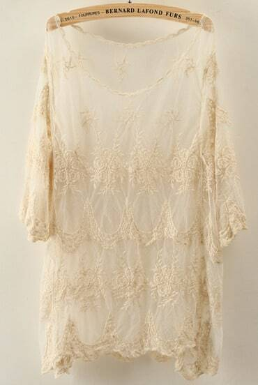 Apricot Half Sleeve Embroidered Sheer Lace Blouse