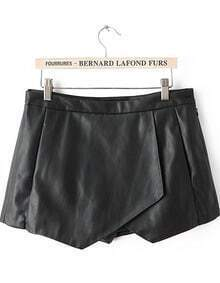 Black Asymmetrical PU Leather Shorts