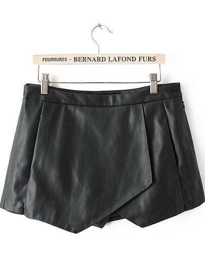 Black Asymmetrical PU Leather Shorts