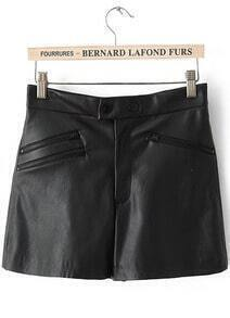 Black Zipper Embellished PU Leather Shorts