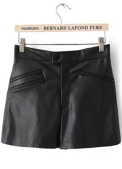 Black Zipper Embellished PU Leather Shorts