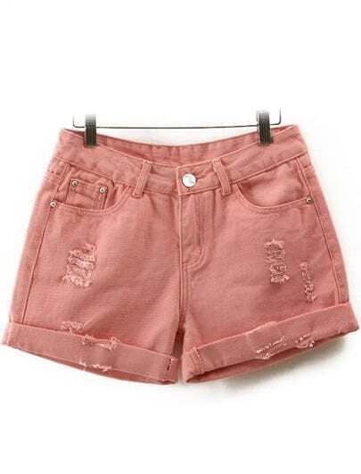 Pink High Waist Ripped Denim Shorts
