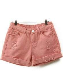 Pink High Waist Ripped Denim Shorts