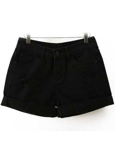 Black High Waist Ripped Denim Shorts