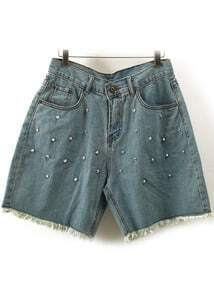 Blue High Waist Fringe Rivet Denim Shorts