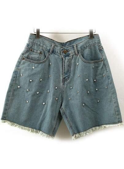 Blue High Waist Fringe Rivet Denim Shorts