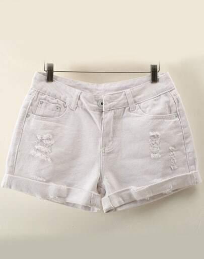 White High Waist Ripped Denim Shorts