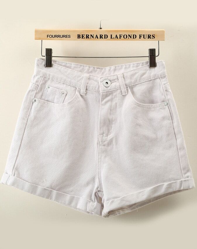 White High Waist Flange Denim Shorts -SheIn(Sheinside)