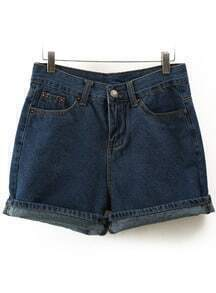 Navy High Waist Pockets Denim Shorts