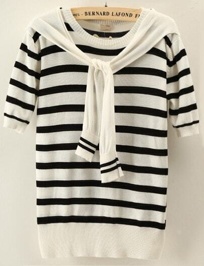 Black White Striped Short Sleeve Cape Sweater