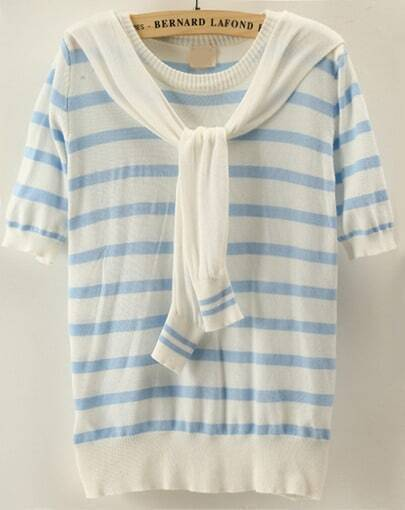 Blue White Striped Short Sleeve Cape Sweater