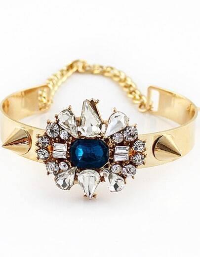 White Blue Gemstone Gold Rivet Bracelet