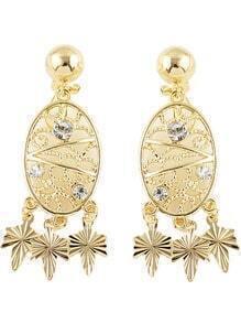 Gold Diamond Leaves Hollow Earrings