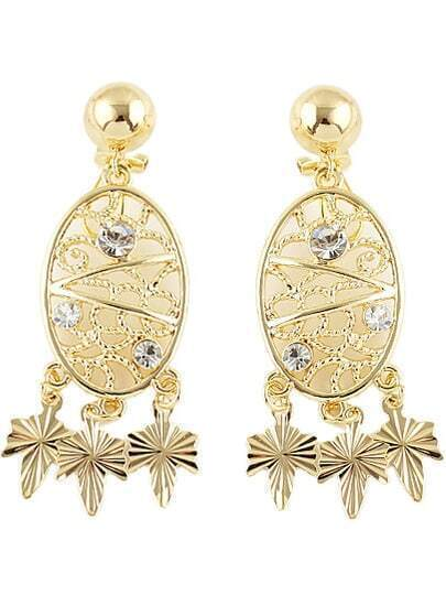 Gold Diamond Leaves Hollow Earrings
