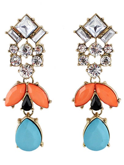 Blue Red Gemstone Gold Drop Earrings